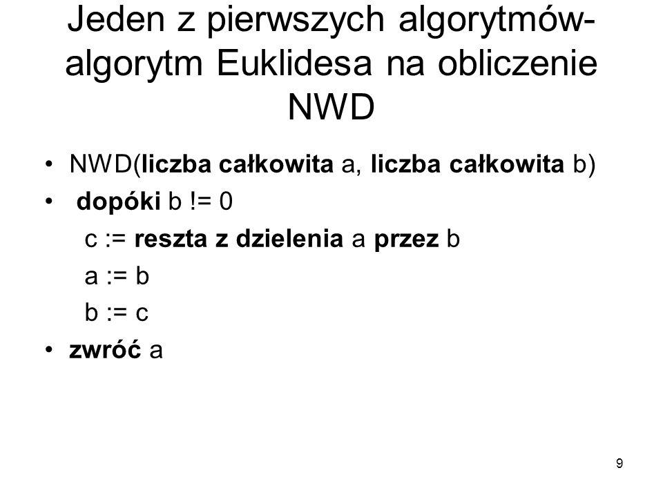 9 Jeden z pierwszych algorytmów- algorytm Euklidesa na obliczenie NWD NWD(liczba całkowita a, liczba całkowita b) dopóki b != 0 c := reszta z dzieleni
