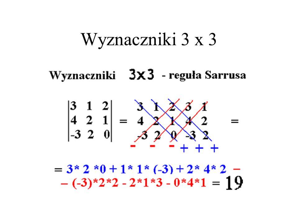 Wyznacznik macierzy 2 x 2 Det ( {{a_11, a_12}, {a_21, a_22}}) = = a_11 * a_22 – a_21*a_12
