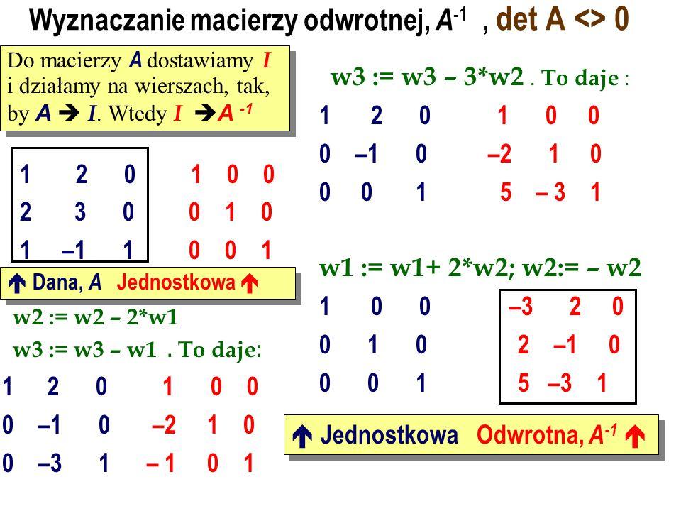 Macierz odwrotna do macierzy 2 na 2 Rozwiązać układ równań 6 x + 5 y = 3 8 x +7 y = 5 Odp. A -1 B = -2 3