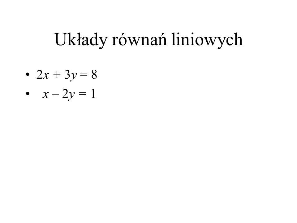 Równania liniowe 2 x + 3 y = 8 Jak narysować taką linię prostą ? Na przykład tak: dla x = 1 mamy y = 2, Dla y = 0 mamy x = 4.