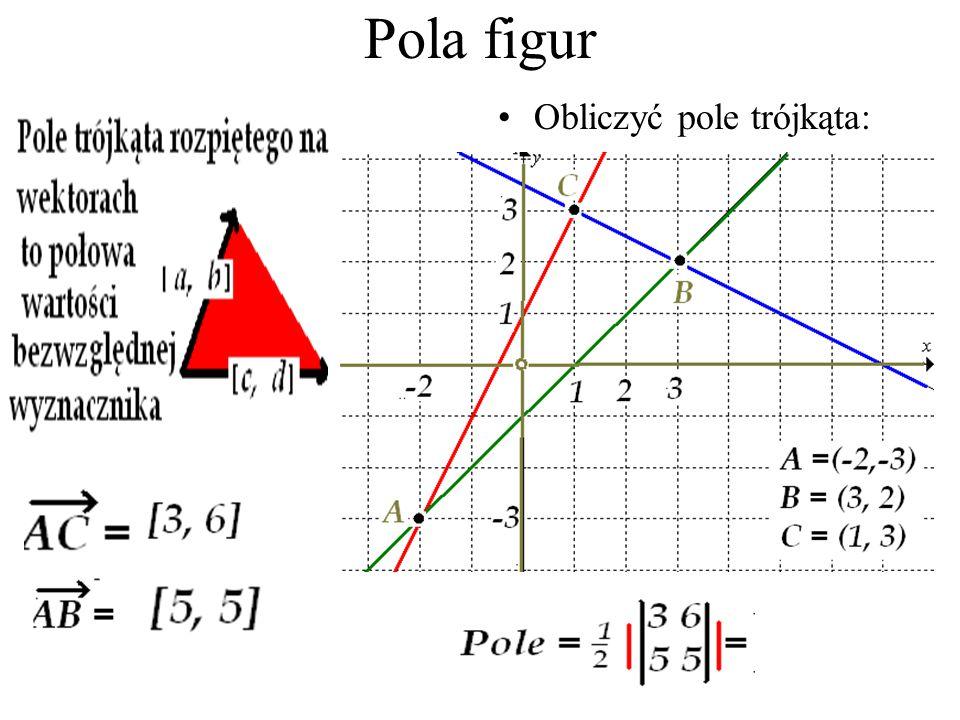 Pole równoległoboku i pole trójkąta Pole niebieskiego prostokąta = 3 Pole żółtego trójkąta = 5 / 2 Pole zielonego trójkąta = 3 Razem kolorowe = 17 Pro