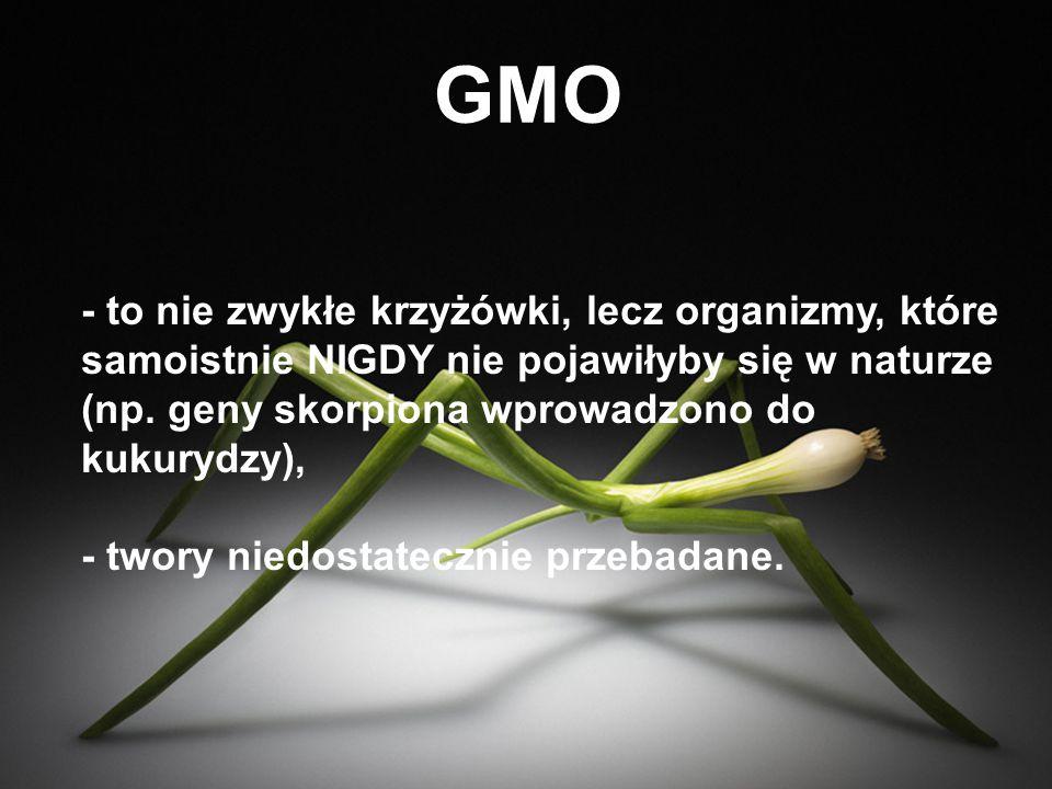 GMO NA POLACH - odporne na insekty, czyli roślina sama produkuje substancję trującą dla szkodników, jak i innych, także pożytecznych organizmów żyjących na danym terenie, - wytrzymałe na pestycydy, czyli roślina ma wbudowany gen odporności na opryski chemiczne, - wspiera wielkoobszarowe rolnictwo monokulturowe.