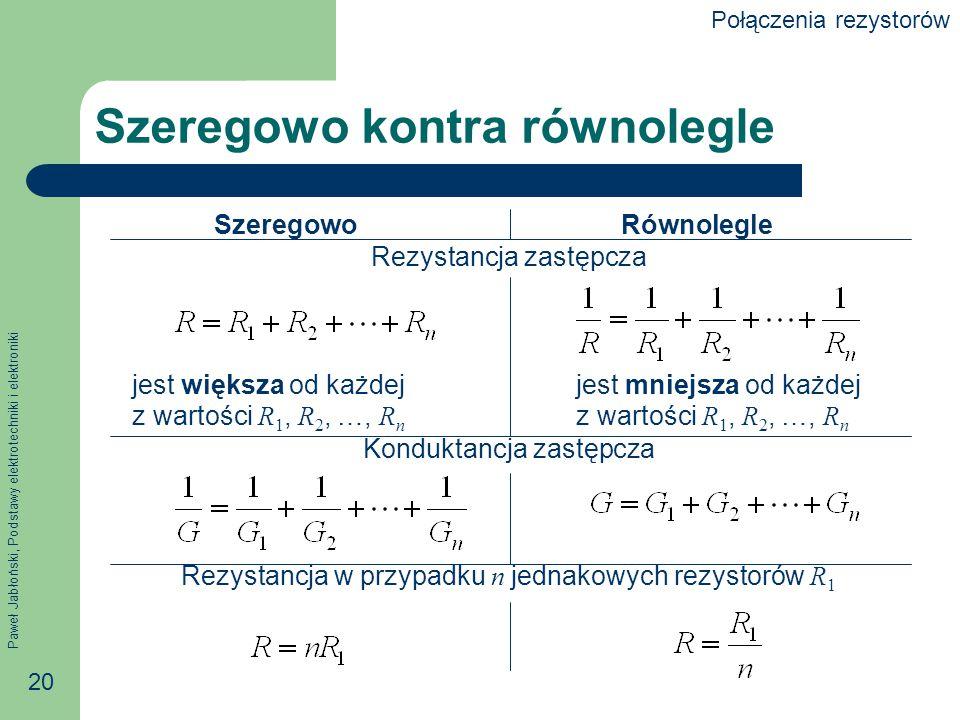 Paweł Jabłoński, Podstawy elektrotechniki i elektroniki 20 Szeregowo kontra równolegle Szeregowo Równolegle Rezystancja zastępcza jest większa od każd