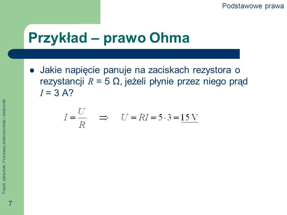 """Paweł Jabłoński, Podstawy elektrotechniki i elektroniki 8 I prawo Kirchhoffa (prądowe) Suma algebraiczna prądów w gałęziach schodzących się w węźle jest równa zeru Alternatywnie Suma prądów wpływających do węzła jest równa sumie prądów z niego wypływających Prawo to wynika z prawa zachowania ładunku i ciągłości prądu (ładunek przepływa, ale nie """"spiętrza się )."""