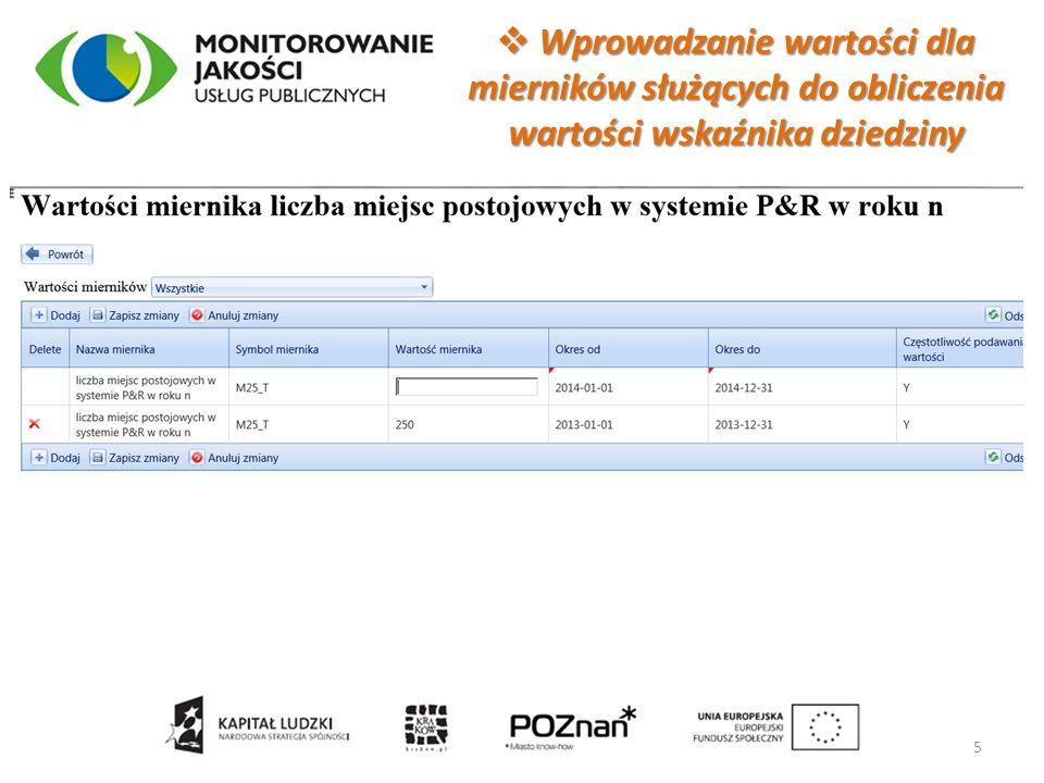  Wartości wybranych wskaźników dla dziedziny Transport 6