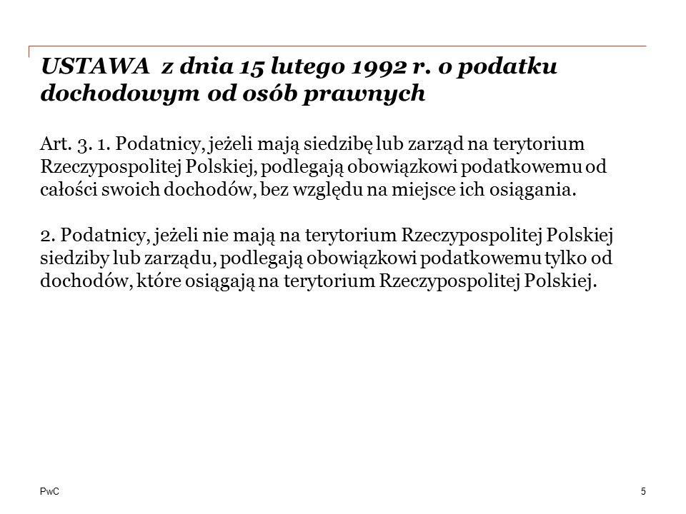 PwC Przykład klauzuli switch-over (zmiana metody unikania podwójnego opodatkowania) (2/2) 26 Protokół z dnia 7 czerwca 2012 r.