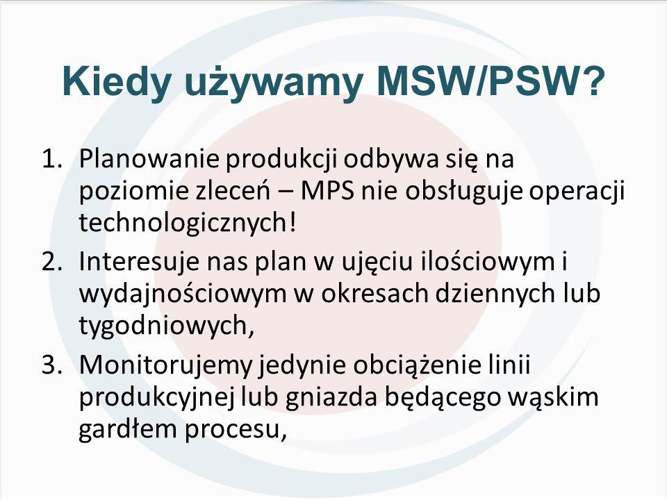 Kiedy używamy MSW/PSW? 1.Planowanie produkcji odbywa się na poziomie zleceń – MPS nie obsługuje operacji technologicznych! 2.Interesuje nas plan w uję