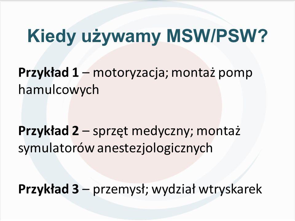 Kiedy używamy MSW/PSW? Przykład 1 – motoryzacja; montaż pomp hamulcowych Przykład 2 – sprzęt medyczny; montaż symulatorów anestezjologicznych Przykład