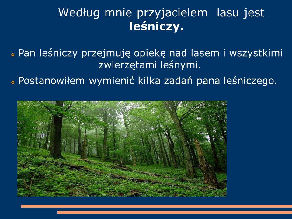 Według mnie przyjacielem lasu jest leśniczy.  Pan leśniczy przejmuję opiekę nad lasem i wszystkimi zwierzętami leśnymi.  Postanowiłem wymienić kilka