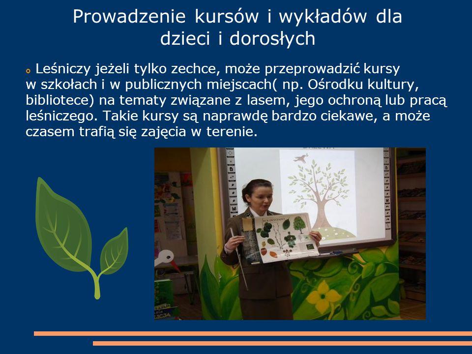 Prowadzenie kursów i wykładów dla dzieci i dorosłych  Leśniczy jeżeli tylko zechce, może przeprowadzić kursy w szkołach i w publicznych miejscach( np