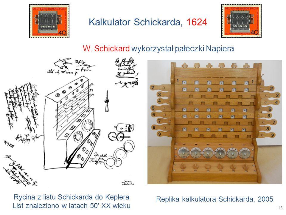 Kalkulator Schickarda, 1624 Rycina z listu Schickarda do Keplera List znaleziono w latach 50' XX wieku Replika kalkulatora Schickarda, 2005 W.