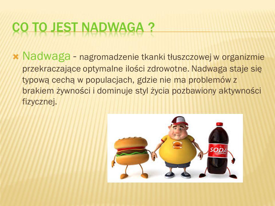  Nadwaga - nagromadzenie tkanki tłuszczowej w organizmie przekraczające optymalne ilości zdrowotne. Nadwaga staje się typową cechą w populacjach, gdz