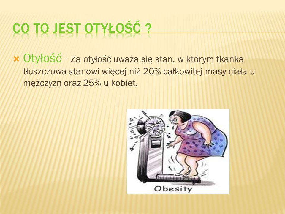  Otyłość - Za otyłość uważa się stan, w którym tkanka tłuszczowa stanowi więcej niż 20% całkowitej masy ciała u mężczyzn oraz 25% u kobiet.