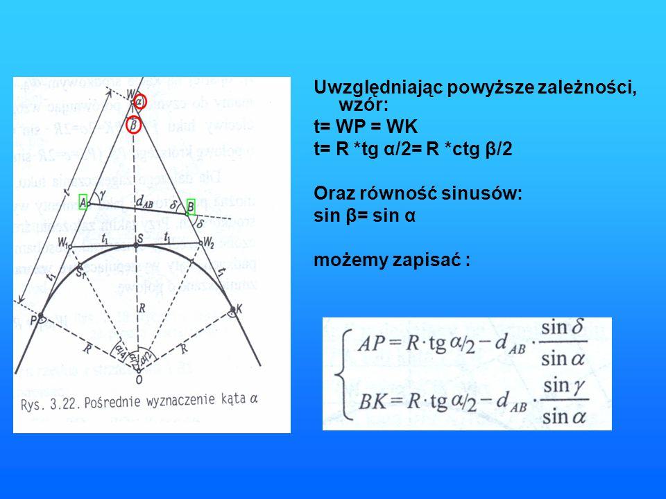 Oblicz dane potrzebne do wytyczenia łuku kołowego jeżeli początek trasy w punkcie A (100,100) W (500,500) koniec trasy B (300,400).Promień projektowanego łuku = 150m.W terenie pomierzono kąt γ=90 g,δ=60 g.