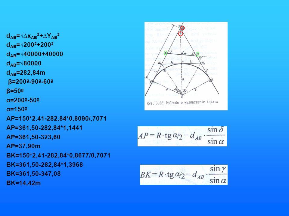 d AB =√∆x AB 2 +∆Y AB 2 d AB =√200 2 +200 2 d AB =√40000+40000 d AB =√80000 d AB =282,84m β=200 g -90 g -60 g β=50 g α=200 g -50 g α=150 g AP=150*2,41