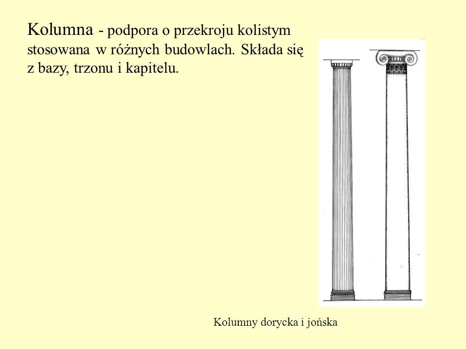 Kolumna - podpora o przekroju kolistym stosowana w różnych budowlach. Składa się z bazy, trzonu i kapitelu. Kolumny dorycka i jońska