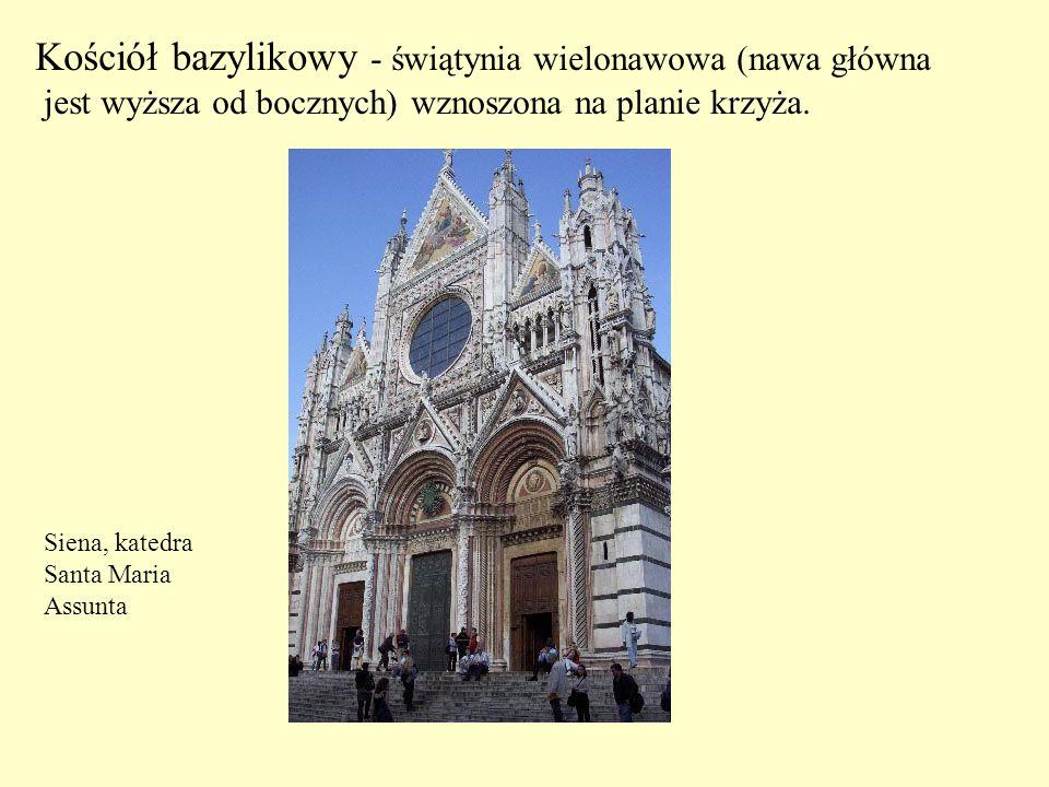 Kościół bazylikowy - świątynia wielonawowa (nawa główna jest wyższa od bocznych) wznoszona na planie krzyża. Siena, katedra Santa Maria Assunta