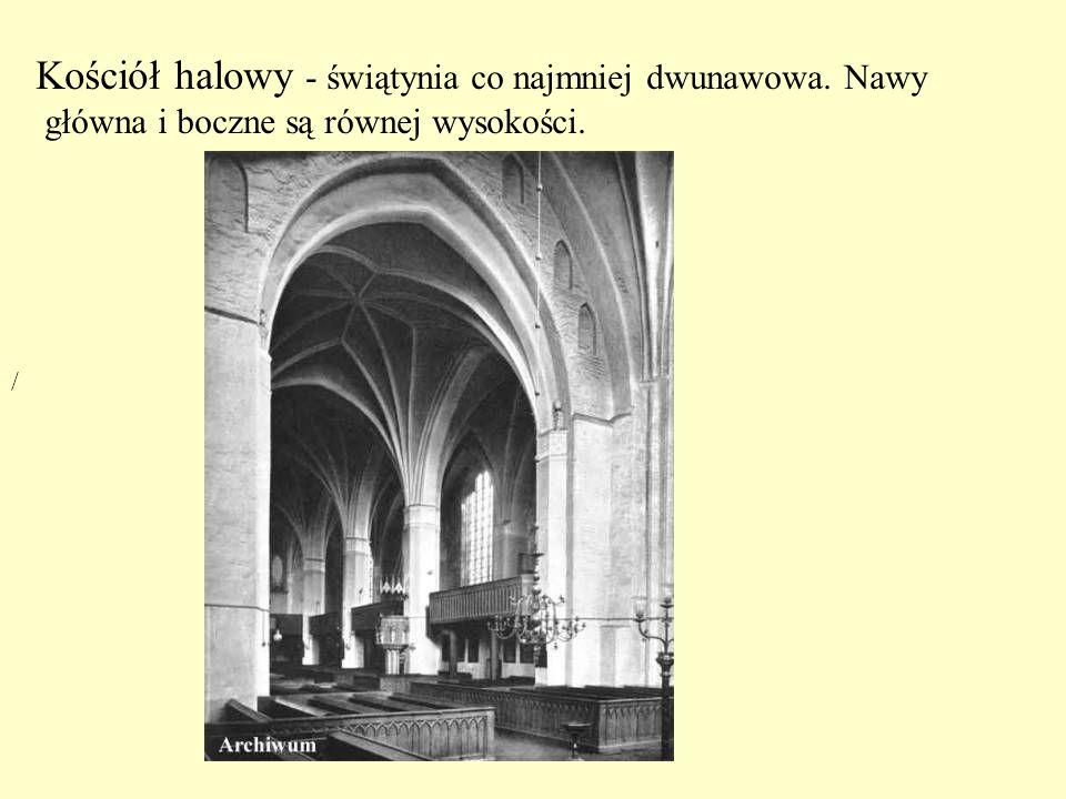 Kościół halowy - świątynia co najmniej dwunawowa. Nawy główna i boczne są równej wysokości. /