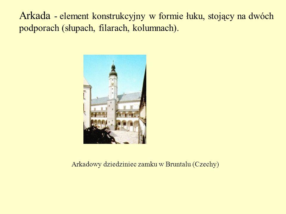 Arkada - element konstrukcyjny w formie łuku, stojący na dwóch podporach (słupach, filarach, kolumnach). Arkadowy dziedziniec zamku w Bruntalu (Czechy