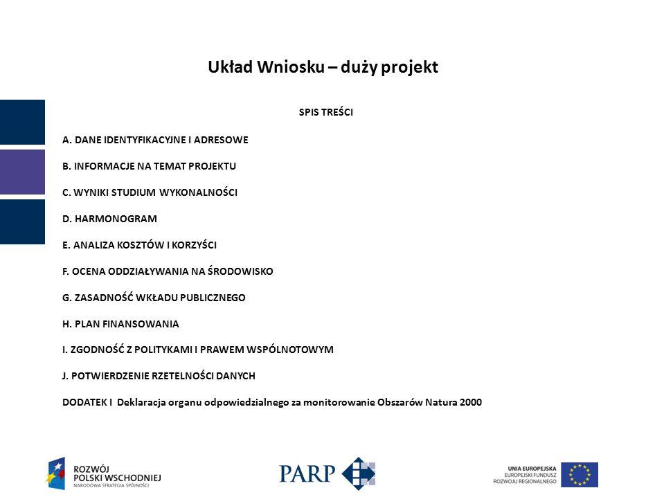 Układ Wniosku – duży projekt SPIS TREŚCI A. DANE IDENTYFIKACYJNE I ADRESOWE B.