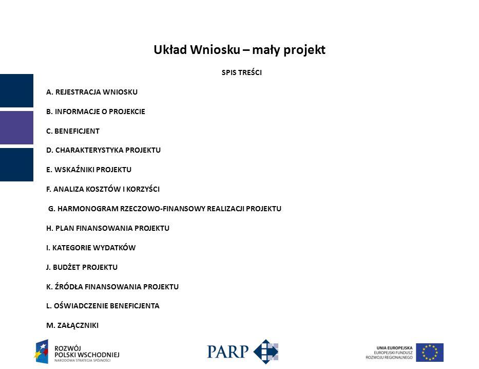 Układ Wniosku – mały projekt SPIS TREŚCI A. REJESTRACJA WNIOSKU B.