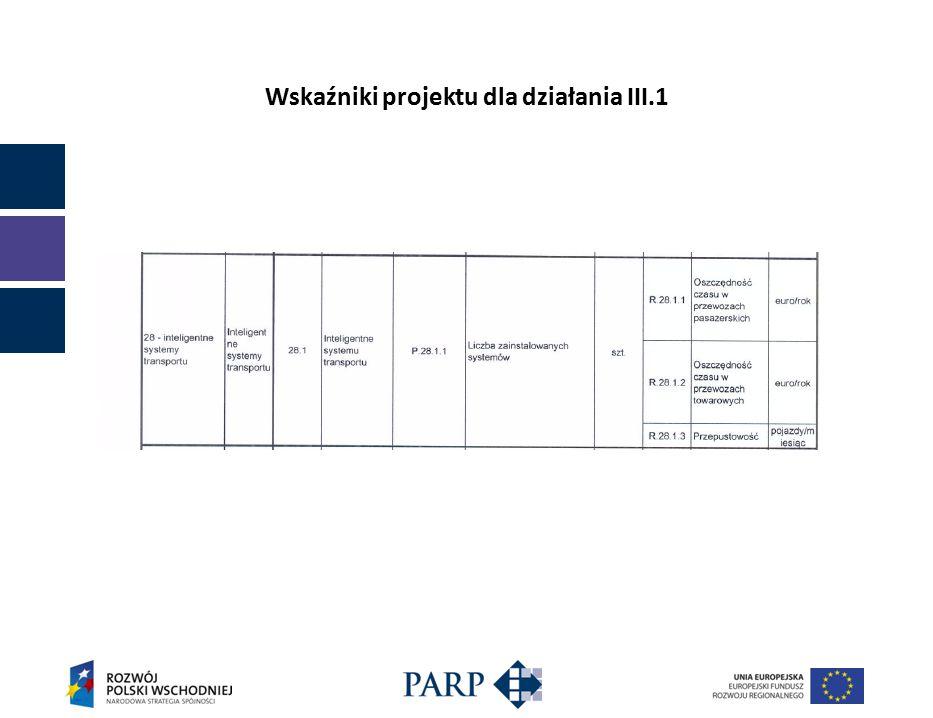 Wskaźniki projektu dla działania III.1