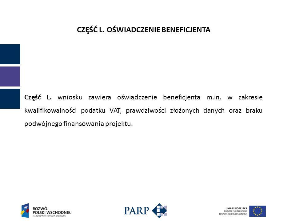 CZĘŚĆ L. OŚWIADCZENIE BENEFICJENTA Część L. wniosku zawiera oświadczenie beneficjenta m.in.