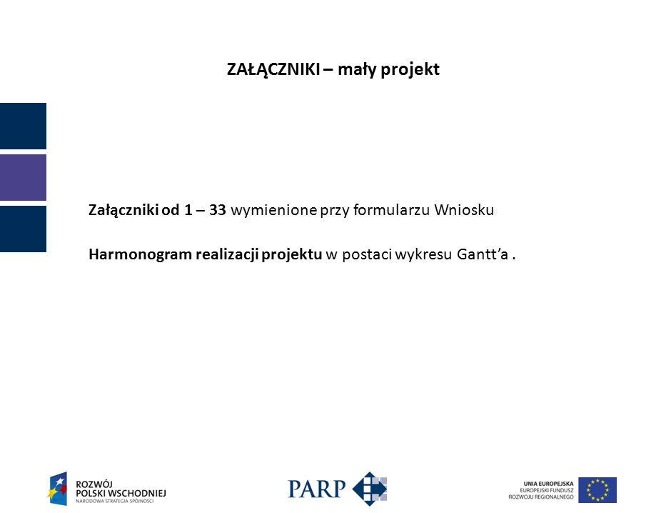 ZAŁĄCZNIKI – mały projekt Załączniki od 1 – 33 wymienione przy formularzu Wniosku Harmonogram realizacji projektu w postaci wykresu Gantt'a.