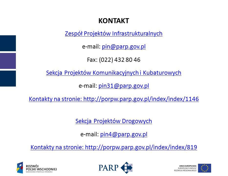 KONTAKT Zespół Projektów Infrastrukturalnych e-mail: pin@parp.gov.plpin@parp.gov.pl Fax: (022) 432 80 46 Sekcja Projektów Komunikacyjnych i Kubaturowych e-mail: pin31@parp.gov.plpin31@parp.gov.pl Kontakty na stronie: http://porpw.parp.gov.pl/index/index/1146 Sekcja Projektów Drogowych e-mail: pin4@parp.gov.plpin4@parp.gov.pl Kontakty na stronie: http://porpw.parp.gov.pl/index/index/819