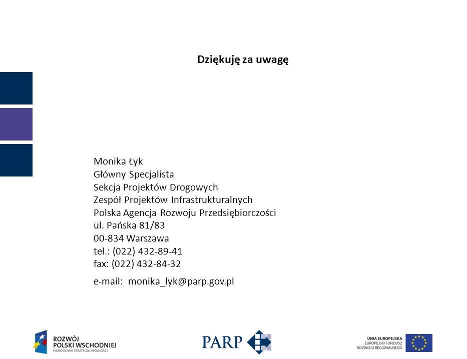 Dziękuję za uwagę Monika Łyk Główny Specjalista Sekcja Projektów Drogowych Zespół Projektów Infrastrukturalnych Polska Agencja Rozwoju Przedsiębiorczości ul.