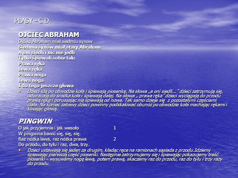 PLĄSY –C.D. OJCIEC ABRAHAM Ojciec Abraham miał siedmiu synów Siedmiu synów miał stary Abraham A oni siedli i nic nie jedli Tylko śpiewali sobie tak: P