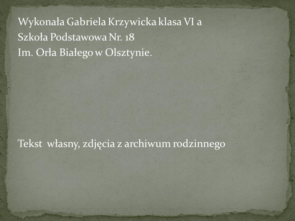 Wykonała Gabriela Krzywicka klasa VI a Szkoła Podstawowa Nr.