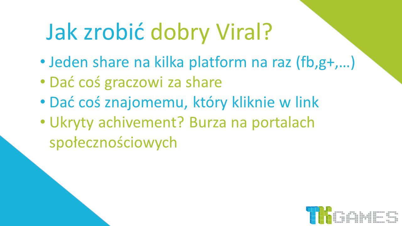 Jak zrobić dobry Viral? Jeden share na kilka platform na raz (fb,g+,…) Dać coś graczowi za share Dać coś znajomemu, który kliknie w link Ukryty achive