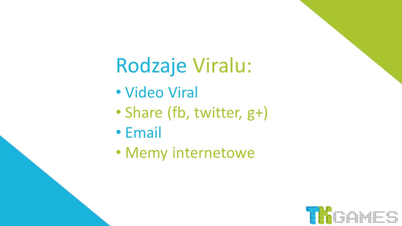 Rodzaje Viralu: Video Viral Share (fb, twitter, g+) Email Memy internetowe
