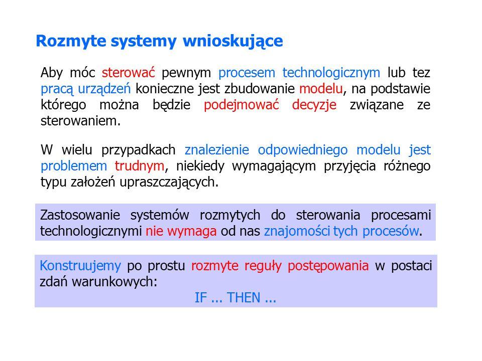 Rozmyte systemy wnioskujące Konstruujemy po prostu rozmyte reguły postępowania w postaci zdań warunkowych: IF...