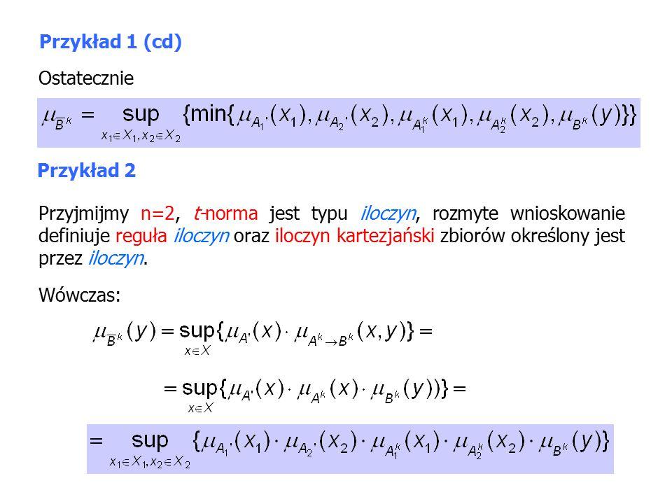 Przykład 1 (cd) Ostatecznie Przykład 2 Przyjmijmy n=2, t-norma jest typu iloczyn, rozmyte wnioskowanie definiuje reguła iloczyn oraz iloczyn kartezjański zbiorów określony jest przez iloczyn.