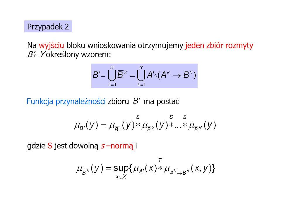 Przypadek 2 Na wyjściu bloku wnioskowania otrzymujemy jeden zbiór rozmyty B'  Y określony wzorem: Funkcja przynależności zbioru ma postać gdzie S jest dowolną s –normą i