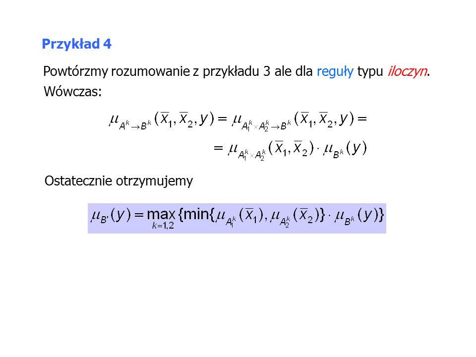Powtórzmy rozumowanie z przykładu 3 ale dla reguły typu iloczyn.