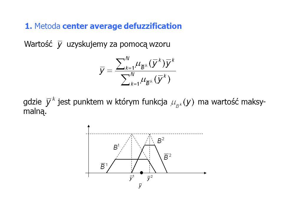 1. Metoda center average defuzzification Wartość uzyskujemy za pomocą wzoru gdzie jest punktem w którym funkcja ma wartość maksy- malną.