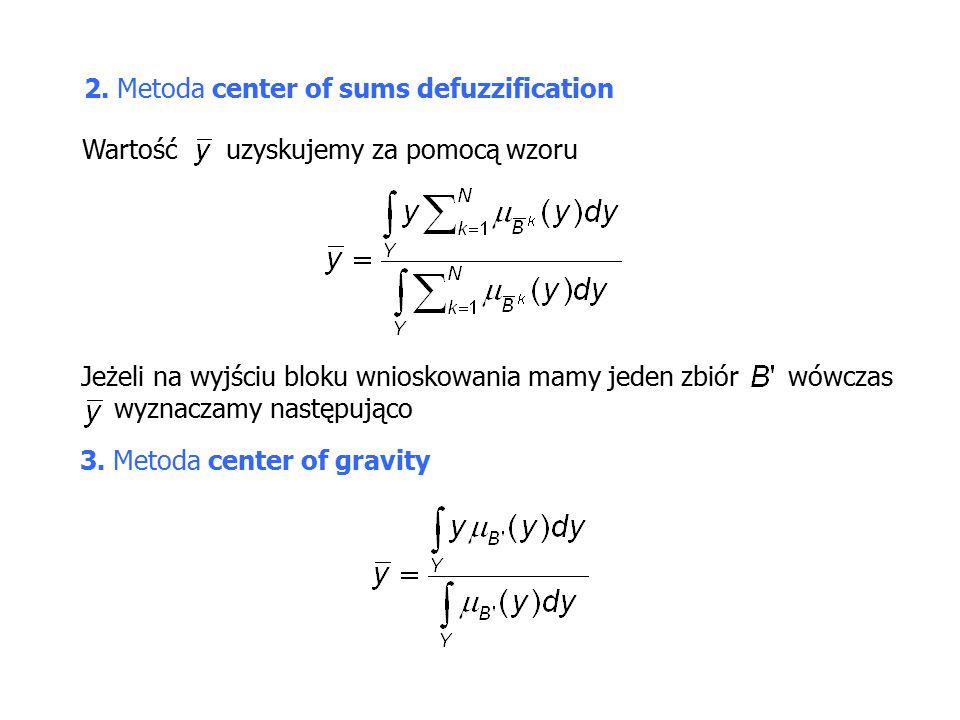 2.Metoda center of sums defuzzification Wartość uzyskujemy za pomocą wzoru 3.