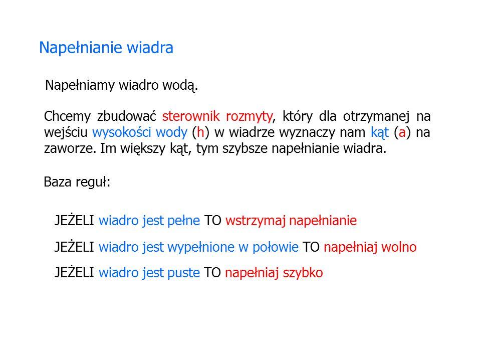 Zmienne lingwistyczne: ODLEGŁOŚĆ MOC KĄT (WYCHYLENIE) możliwe wartości: zero, mała, duża możliwe wartości: ujemny duży, ujemny mały, zero, dodatni mały, dodatni duży możliwe wartości: ujemna duża, ujemna mała, zero, dodatnia mała, dodatnia duża Sterowanie suwnicą przenosząca kontenery