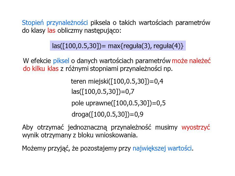 Stopień przynależności piksela o takich wartościach parametrów do klasy las obliczmy następująco: las([100,0.5,30])= max{reguła(3), reguła(4)} W efekcie piksel o danych wartościach parametrów może należeć do kilku klas z różnymi stopniami przynależności np.