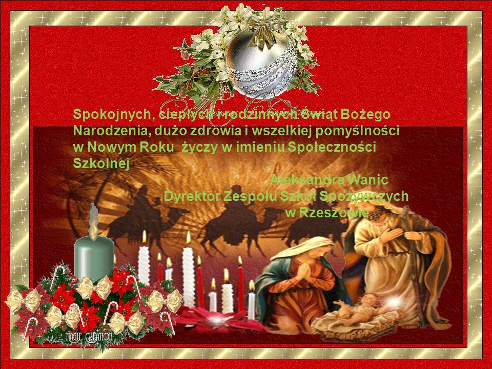 Spokojnych, ciepłych i rodzinnych Świąt Bożego Narodzenia, dużo zdrowia i wszelkiej pomyślności w Nowym Roku życzy w imieniu Społeczności Szkolnej Aleksandra Wanic Dyrektor Zespołu Szkół Spożywczych w Rzeszowie
