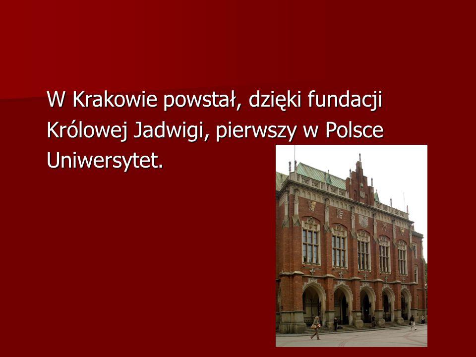 W Krakowie powstał, dzięki fundacji Królowej Jadwigi, pierwszy w Polsce Uniwersytet.