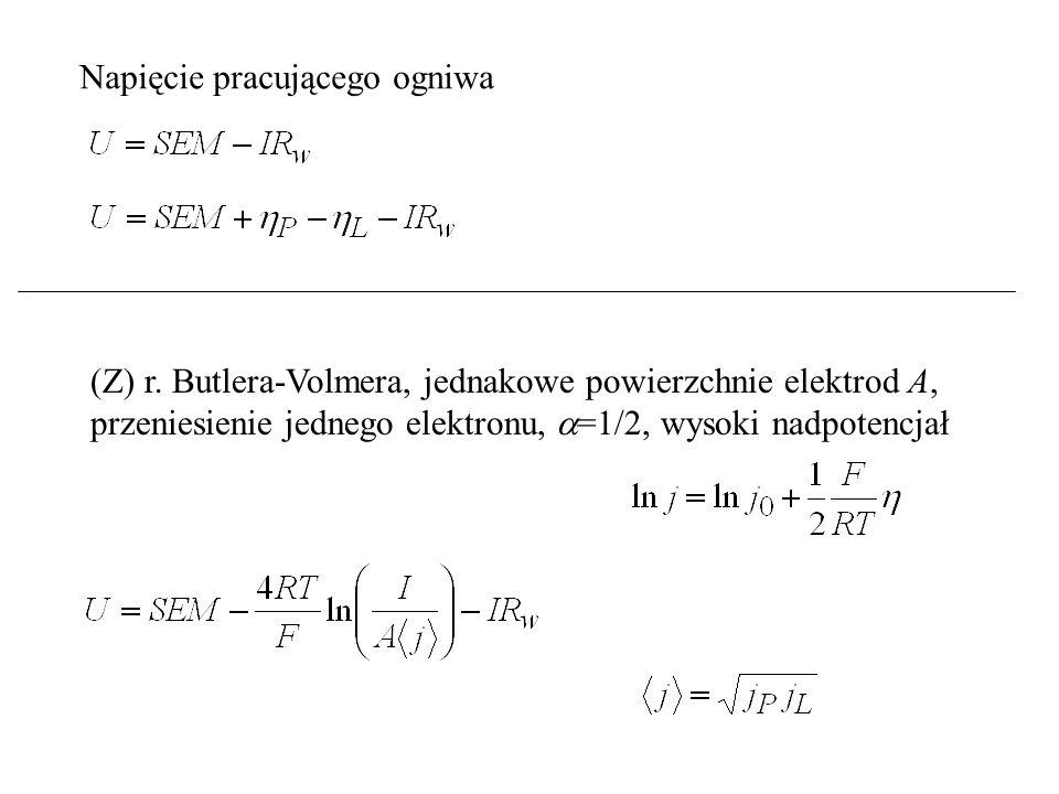 Napięcie pracującego ogniwa (Z) r. Butlera-Volmera, jednakowe powierzchnie elektrod A, przeniesienie jednego elektronu,  =1/2, wysoki nadpotencjał
