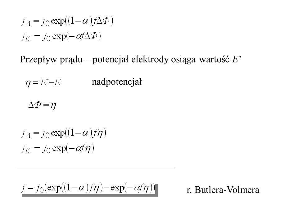 Przepływ prądu – potencjał elektrody osiąga wartość E' nadpotencjał r. Butlera-Volmera