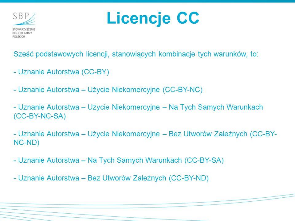 Licencje CC Sześć podstawowych licencji, stanowiących kombinacje tych warunków, to: - Uznanie Autorstwa (CC-BY) - Uznanie Autorstwa – Użycie Niekomercyjne (CC-BY-NC) - Uznanie Autorstwa – Użycie Niekomercyjne – Na Tych Samych Warunkach (CC-BY-NC-SA) - Uznanie Autorstwa – Użycie Niekomercyjne – Bez Utworów Zależnych (CC-BY- NC-ND) - Uznanie Autorstwa – Na Tych Samych Warunkach (CC-BY-SA) - Uznanie Autorstwa – Bez Utworów Zależnych (CC-BY-ND)