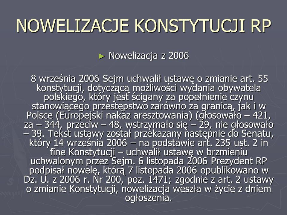 NOWELIZACJE KONSTYTUCJI RP ► Nowelizacja z 2006 8 września 2006 Sejm uchwalił ustawę o zmianie art. 55 konstytucji, dotyczącą możliwości wydania obywa