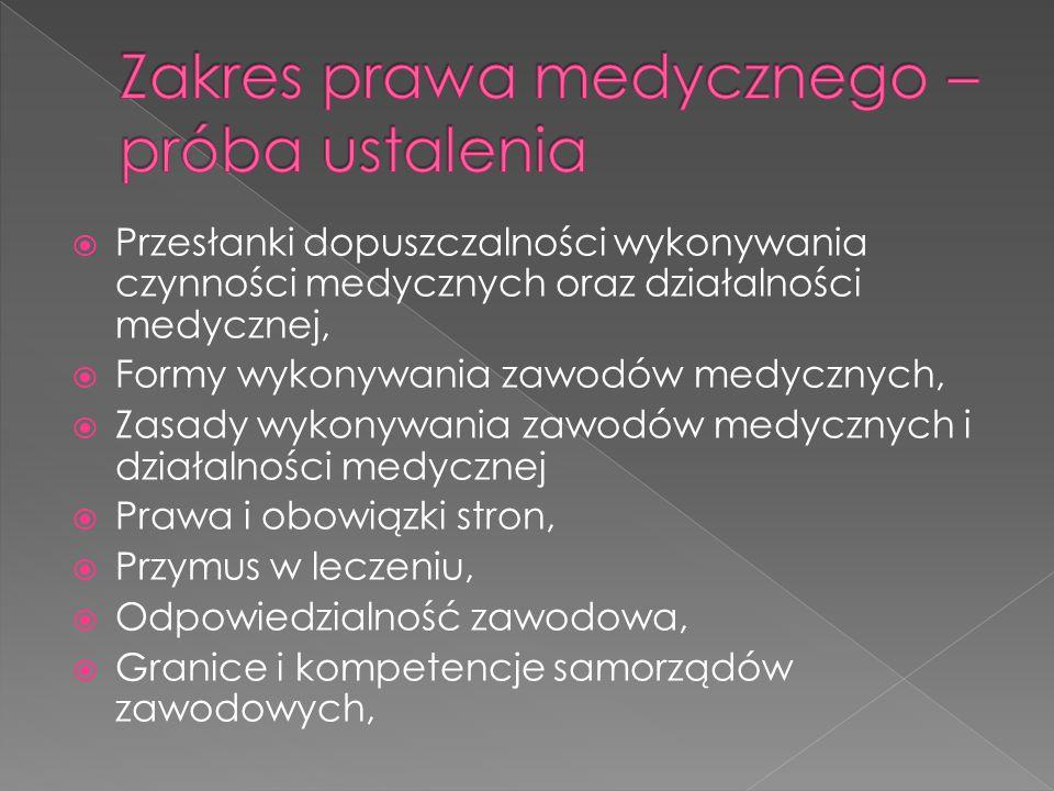  Przesłanki dopuszczalności wykonywania czynności medycznych oraz działalności medycznej,  Formy wykonywania zawodów medycznych,  Zasady wykonywania zawodów medycznych i działalności medycznej  Prawa i obowiązki stron,  Przymus w leczeniu,  Odpowiedzialność zawodowa,  Granice i kompetencje samorządów zawodowych,