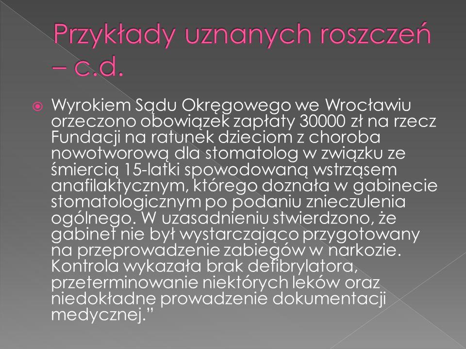  Wyrokiem Sądu Okręgowego we Wrocławiu orzeczono obowiązek zapłaty 30000 zł na rzecz Fundacji na ratunek dzieciom z choroba nowotworową dla stomatolog w związku ze śmiercią 15-latki spowodowaną wstrząsem anafilaktycznym, którego doznała w gabinecie stomatologicznym po podaniu znieczulenia ogólnego.